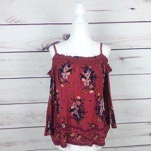 Rewind Boho Burnt Orange Cold Shoulder Floral Top